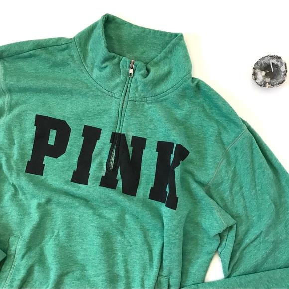 659579f726181 VS Pink Green Half Zip Pullover Sweatshirt M B6